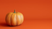 Seasonal Background Wallpaper With Copy-space. Pumpkin On Orange Color. Fall Concept.
