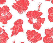 Retro Seamless Pattern With Red Blossoms. Texture With Inflorescence Of Hibiscus For Fabric, Home Decor. Floral Print With Tropical Flowers. A Drawing With Contours Of Plants. Trendy Exotic Background