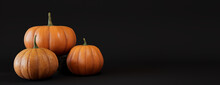 Seasonal Background Banner With Copy-space. Trio Of Pumpkins On Black Color. Fall Concept.