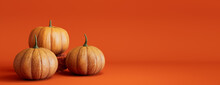 Seasonal Background Banner With Copy-space. Trio Of Pumpkins On Orange Color. Fall Concept.