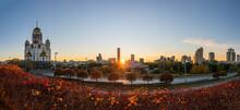 Temple In Autumn In Beautiful Orange Sunset Light. Temple On Blood, Yekaterinburg, Russia