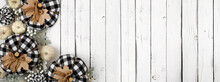 Modern Farmhouse Autumn Corner Border Over A White Wood Banner Background. Black And White Buffalo Plaid Pumpkins, Leaves And Berries. Above View With Copy Space.