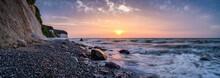 Sunrise At The Chalk Cliffs On Ruegen Island, Mecklenburg-Western Pomerania, Germany