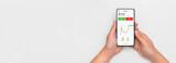 Fototapeta Kawa jest smaczna - Investor using stock market trading mobile app