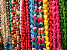 Multicolored Bead Necklace Sold At The Local Souvenir Market In Thailand.