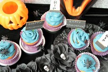 """Halloween Pastry: Cupcakes With Decoration Of """"happy Halloween"""", RIP Tombstones, Insects, Pumpkins Flowers With Skulls"""