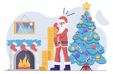Santa Claus Reads His Wish List And Is Surprised, With A Christmas Tree And Fireplace In The Back