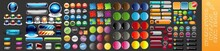 Colorful Long Round Buttons, Web Button Collection, Modern Buttons. Colorful Design Element. Icon, Button Template, Convenient And Easy-to-use Colorful Button Collection