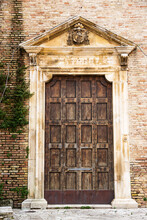 Ancient Wooden Door Of The Side Entrance Of The Cathedral San Massimo Di Penne (Italy)