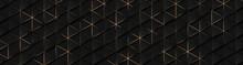 Luxury Triangle Abstract Black Metal Background With Golden Light Lines. Dark 3d Geometric Texture Illustration. Bright Grid Pattern. Pure Black Horizontal Banner Wallpaper. Carbon Elegant Wedding BG