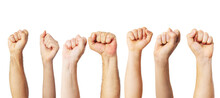 Group Of People Raised Fists Up As A Victory, Proud, Success Or Strength Symbol