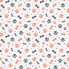 Dog Paw Print Colorful Seamless Pattern. Pets Cute Pattern With Bones.