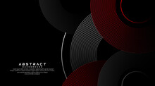 Abstract Grey And Red Circle Line Vector On Dark Background. Modern Simple Overlap Circle Lines Texture Creative Design. Suit For Poster, Cover, Banner, Flyer, Brochure, Presentation, Website