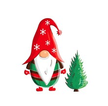 Christmas Scandinavian Little Gnome With New Year Tree. Cute Childish Illustration, Holiday Print And Card
