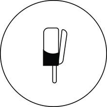 Chocolate Milk Ice Cream On Stick Solid Icon, Ice Cream Concept, Sundae Ice Cream Vector Sign On White Background