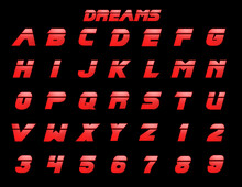 Red Dreams Alphabet - 3D Illustration