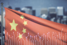 Abstract Virtual Microscheme Illustration On Flag Of China And Blurry Cityscape Background. Big Data And Database Concept. Multiexposure