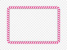 Pink Rectangular Candy Cane Frame