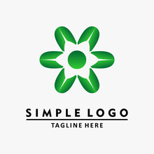 Green Flower Logo And Dots. Templat Logo Desain Abstrak. Vektor Logo.