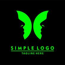 Green Butterfly Logo. Illustration Of Face In Wings. Templat Logo Desain Abstrak. Vektor Logo.