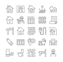 Home Renovation Icons. Construction, Housing Improvement, Repair. Sink Repair, Plumbing, Plumber, Builder. Fixing Up Problems With Water. Cartoon Flat Vector Illustration Isolated On White Background