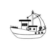 Simple Sketch Of A Sea Ship, Vector Illustration