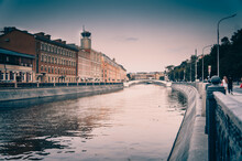 Zverev Bridge Over Vodootvodny Canal In The Evening, Moscow, Russia