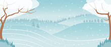 Winter Landscape On A Background Of Mountains, Vector Flat Cartoon. Trees With Snow, Hills And A Valley With A Small House In A Natural Landscape.