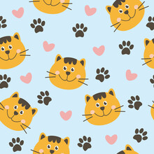 Seamless Pattern With Cute Cat Face. Vector Illustration. It Can Be Used For Wallpapers, Wrapping, Cards, Patterns For Clothes And Other.