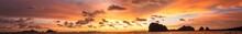 Sea Sunset Panorama Summer Nature Background