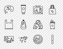 Set Line Stop Plastic Pollution, Disposable Knife, Problem Of Planet, Environment Protection Whale Dead, Bottle For Dishwashing Liquid, No Trash And Trash Can Icon. Vector