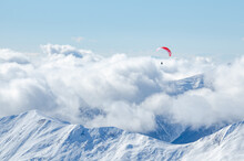 Paraglider Is Flying Over The Mountains In Gudauri, Georgia