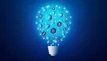 Clinical Research Concept With Medical Icons On Light Bulb