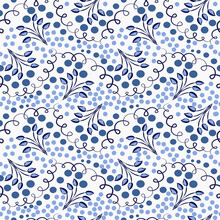 Blue Seamless Pattern With Twigs And Dots In The Style Of Classic Cobalt Porcelain Painting. Floral Tiled Background For Wallpaper, Clothes Or Wrapping Paper.