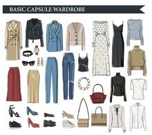 Basic Capsule Wardrobe For Elegant Women Vector