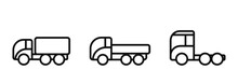 Cargo Truck Line Icon Set. Auto Transport And Transportation Symbols. Isolated Vector Images