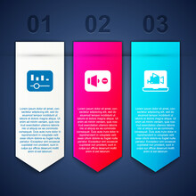 Set Music Equalizer, Speaker Mute And Online Play Video. Business Infographic Template. Vector