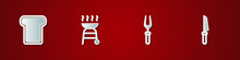 Set Bread Toast, Barbecue Grill, Fork And Knife Icon. Vector
