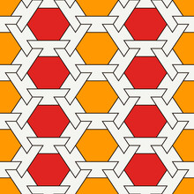 Contemporary Honeycomb Geometric Pattern. Repeated Hexagon Ornament. Modern Mosaic Tiles. Seamless Surface Print