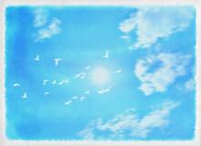 水彩タッチで描いた青い空、群れ飛ぶ白い鳩