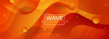 Abstract 3d Waves Fluid Orange Background Design. Modern Dynamic Gradient Style. Usable For Background, Wallpaper, Banner, Poster, Brochure, Card, Web, Presentation.