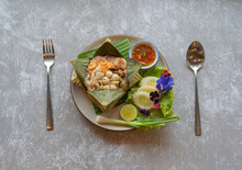 Authentic Thai Rice Wrapped With Banana Leaf. Food. Famous Thai Dish Decoration.