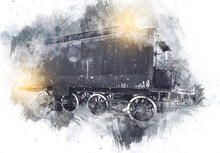 Charcoal, Train, Locomotive, Steam, Photography, Rusty, Wagon, Train, Art, Illustration, Drawing, Sketch, Antique, Retro, Vintage.