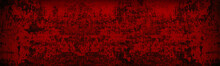 Old Peeling Paint Surface Wide Texture. Bloody Red Wall. Dark Scarlet Colored Gloomy Backdrop. Abstract Grunge Sinister Background