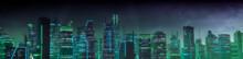 Futuristic Cityscape With Green And Blue Neon Lights. Night Scene With Futuristic Architecture.