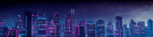 Sci-fi Metropolis With Blue And Pink Neon Lights. Night Scene With Visionary Skyscrapers.