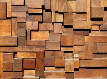 Varnished Wooden Small Blocks And Strips Randomly Assembled, In Relief. Coating For Home Decor, Abstract Background