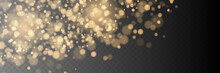Bokeh Background. Snowflakes Isolated. Golden Bokeh Lights With Glowing Particles Isolated.