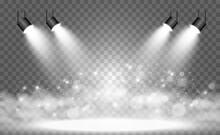 White Scene On With Spotlights. Vector Illustration.