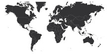Map Of World. Mercator Projection. High Detailed Political Map Of Countries And Dependent Territories. Simple Flat Vector Illustration